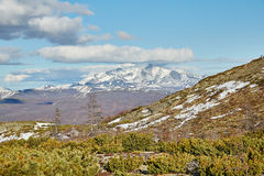 The beginning of summer in mountains on Kolyma. Snow still lies. Magadan's area IMG_6067 Royalty Free Stock Images