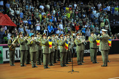 Beginning of a tennis match. Crowd singing national anthem Stock Images