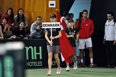 The beginning of the tennis match, Denmark enter in the playground Stock Images
