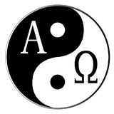 Beginning to End. Yin and Yang and Alpha Omega combined over white Stock Photo