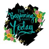 The beginning is always today. Motivational poster vector illustration