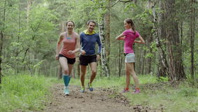 Beginning of training. Group of young people warms up and begins running in a forest stock video