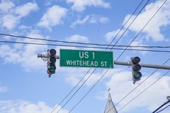 Beginning of US 1 highway in Key West at Whitehead street with t stock images