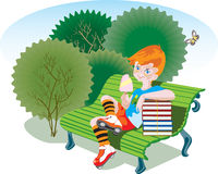 Beginning of vacation color. A boy sits on a bench in a park. Summer vacation has just begun. The boy wears striped socks and roller skates and eats an ice-cream Royalty Free Stock Image