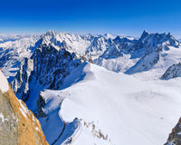 Beginning of Vallee Blanche as seen from Aiguille du Midi Royalty Free Stock Images