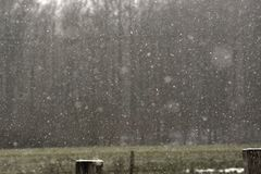 Winter snowfall in the countryside Stock Photo