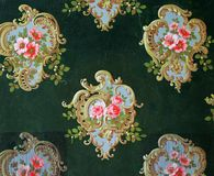 Original textile fabric ornament of the Modern style. Crock is hand-painted with gouache. Beginning of the XX century: Original textile fabric ornament of the royalty free stock images