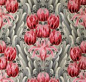 Original textile fabric ornament of the Modern style. Crock is hand-painted with gouache. Royalty Free Stock Images