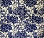 Original textile fabric ornament of the Modern style. Crock is hand-painted with gouache. Royalty Free Stock Photos