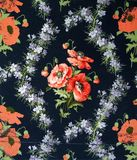 Original textile fabric ornament of the poppies. Crock is hand-painted with gouache. Beginning of the XX century: Original textile fabric ornament of the Modern Stock Image