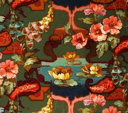Original textile fabric ornament of the Water Lily. Crock is hand-painted with gouache. Beginning of the XX century: Original textile fabric ornament of the Stock Images