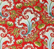 Original textile fabric ornament of the Russian Modern style. Crock is hand-painted with gouache. Royalty Free Stock Images