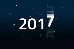 2017 Begins - Night Sky. New Year is coming fast and the old year 2016 is fading out. HQ Background and presentation template Stock Photography