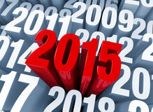 2015 Begins. A shiny bold, red 2014 extends past other years in light gray Royalty Free Stock Photos