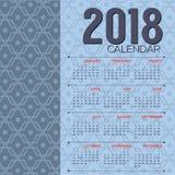 2018 begint de Voor het drukken geschikte Kalender Zondag Blauwe Uitstekende Grafisch Royalty-vrije Stock Fotografie