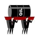 Begräbnis- Öl Barrel Erdöl getragener herein Sarg Geschäftsmänner begraben Lizenzfreie Stockbilder