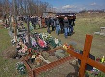 Begräbnis in den Traditionen des griechischen Katholischen Lizenzfreies Stockbild