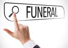 Begräbnis geschrieben in Suchstange auf virtuellen Schirm Stockbild