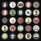Begräbnis- Ikonen in der flachen Art auf farbigen Kreisen stock abbildung