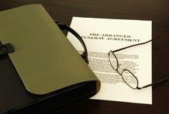 Begräbnis- Vereinbarung Lizenzfreies Stockbild