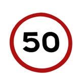 begränsningsvägmärke för 50 hastighet Royaltyfri Bild