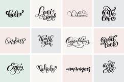 Begrüßen Sie, danken Sie Ihnen, Glückwunsch, gutem Glück, Wochenende, usw. Gesetzte positive Zitate der modernen Kalligraphie und lizenzfreie abbildung