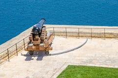 Begrüßungsbatterie in den oberen Barrakka-Gärten in Valletta Lizenzfreie Stockbilder