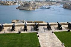 Begrüßungslascaris-Batterie in Valletta, Hauptstadt von Malta Stockbilder