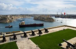 Begrüßungslascaris-Batterie in Valletta, Hauptstadt von Malta Stockfotografie