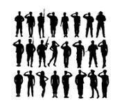 Begrüßungssoldat-und Armee-Kraft-Schattenbilder lizenzfreie abbildung