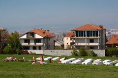 Begraafplaats bij het gedenkteken in Pristina, Kosovo Stock Afbeelding