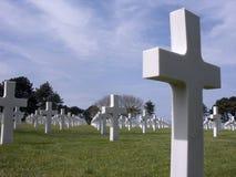 Begraafplaats bij het Strand van Omaha, Normandië, Frankrijk. Stock Afbeelding