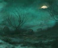 Begraafplaats bij nacht stock illustratie
