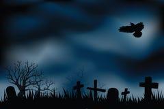 Begraafplaats of kerkhoven bij nacht vector illustratie