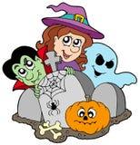 Begraafplaats met de karakters van Halloween Royalty-vrije Stock Fotografie
