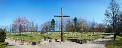 Begraafplaats van verzoening, waar de gevallen Duitse militairen van WO.II, Valasske Mezirici, de Tsjechische republiek werden be royalty-vrije stock foto's