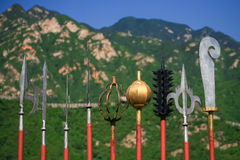 Begraben Sie Kriegerswaffe an der Chinesischen Mauer Stockfotos