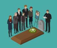 Begrafenis, begrafenisconcept Begraafplaats, ernstige vectorillustratie royalty-vrije illustratie