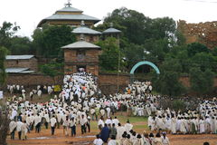 Begrafenis ceremonie in Yeha, Ethiopië Stock Afbeelding