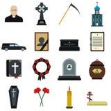 Begrafenis en begrafenis vlakke pictogrammen Stock Foto's