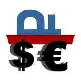 Begrafenis van roebel Het Russische nationale geld wordt gedragen in doodskist e Stock Foto