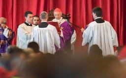 Begrafenis voor de slachtoffers van de Morandi-brug, Genua wordt gehouden dat royalty-vrije stock afbeeldingen