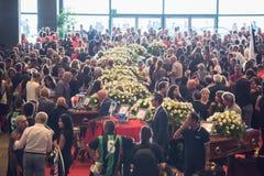 Begrafenis voor de slachtoffers van de Morandi-brug, Genua wordt gehouden dat royalty-vrije stock fotografie