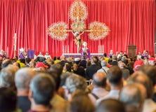 Begrafenis voor de slachtoffers van de Morandi-brug, Genua wordt gehouden dat stock fotografie