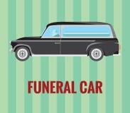 Begrafenisauto (lijkwagen) met een bestuurder en een doodskist (vectortekening) Stock Foto's
