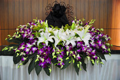 Begrafenisbloemen voor zijn Beeld Stock Fotografie