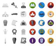 Begrafenisceremonie mono, vlakke pictogrammen in vastgestelde inzameling voor ontwerp Begrafenissen en Attributen het vectorweb v royalty-vrije illustratie