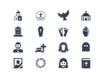 Begrafenispictogrammen stock illustratie