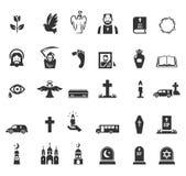 Begrafenispictogrammen Stock Afbeeldingen