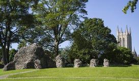 Begrava domkyrkan för St Edmunds Abbey Remains och för St Edmundsbury Arkivbild